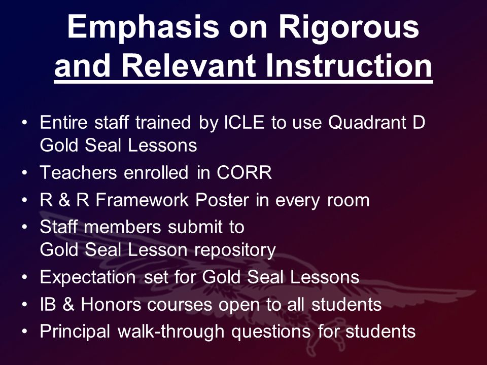 Emphasis on Rigorous and Relevant Instruction Entire staff trained by ICLE to use Quadrant D Gold Seal Lessons Teachers enrolled in CORR R & R Framework Poster in every room Staff members submit to Gold Seal Lesson repository Expectation set for Gold Seal Lessons IB & Honors courses open to all students Principal walk-through questions for students