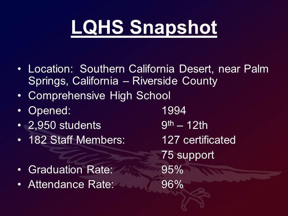 LQHS Snapshot Location: Southern California Desert, near Palm Springs, California – Riverside County Comprehensive High School Opened:1994 2,950 students 9 th – 12th 182 Staff Members:127 certificated 75 support Graduation Rate: 95% Attendance Rate:96%