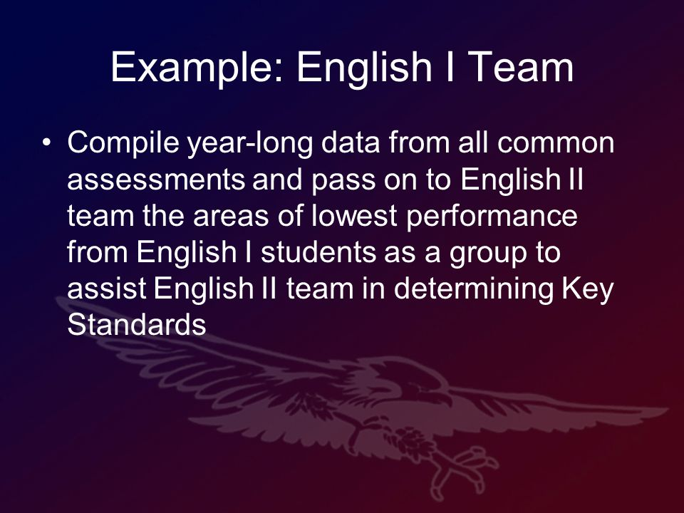 Example: English I Team Compile year-long data from all common assessments and pass on to English II team the areas of lowest performance from English I students as a group to assist English II team in determining Key Standards