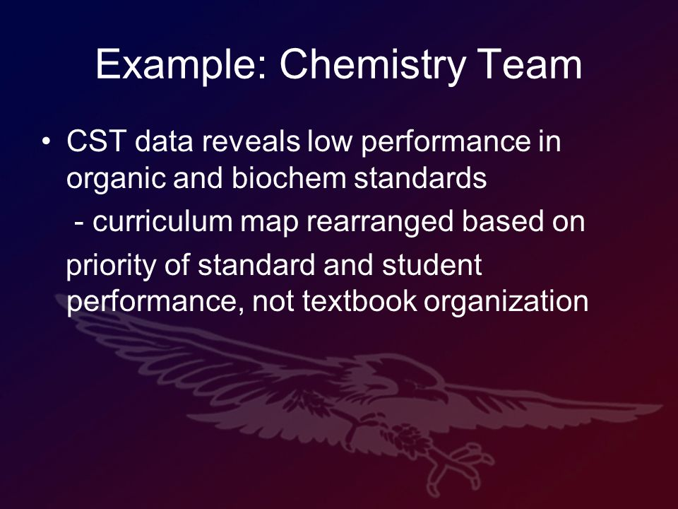 Example: Chemistry Team CST data reveals low performance in organic and biochem standards - curriculum map rearranged based on priority of standard and student performance, not textbook organization