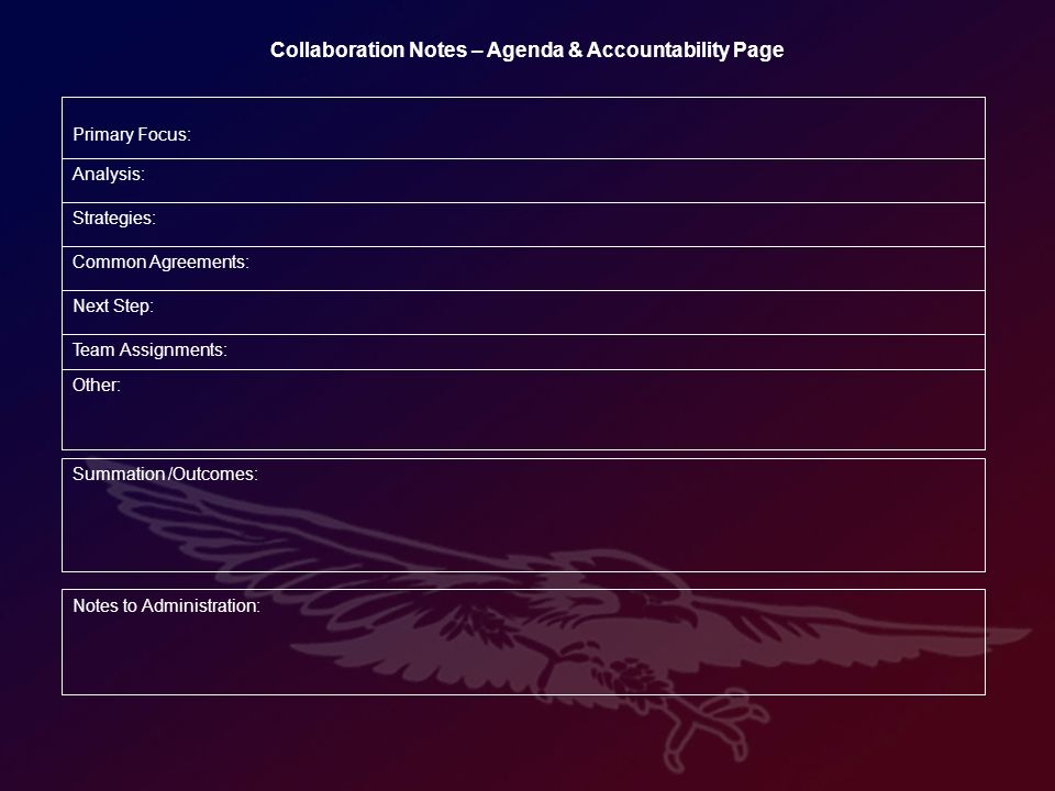 Summation /Outcomes: Collaboration Notes – Agenda & Accountability Page Other: Team Assignments: Next Step: Common Agreements: Strategies: Analysis: Primary Focus: Notes to Administration:
