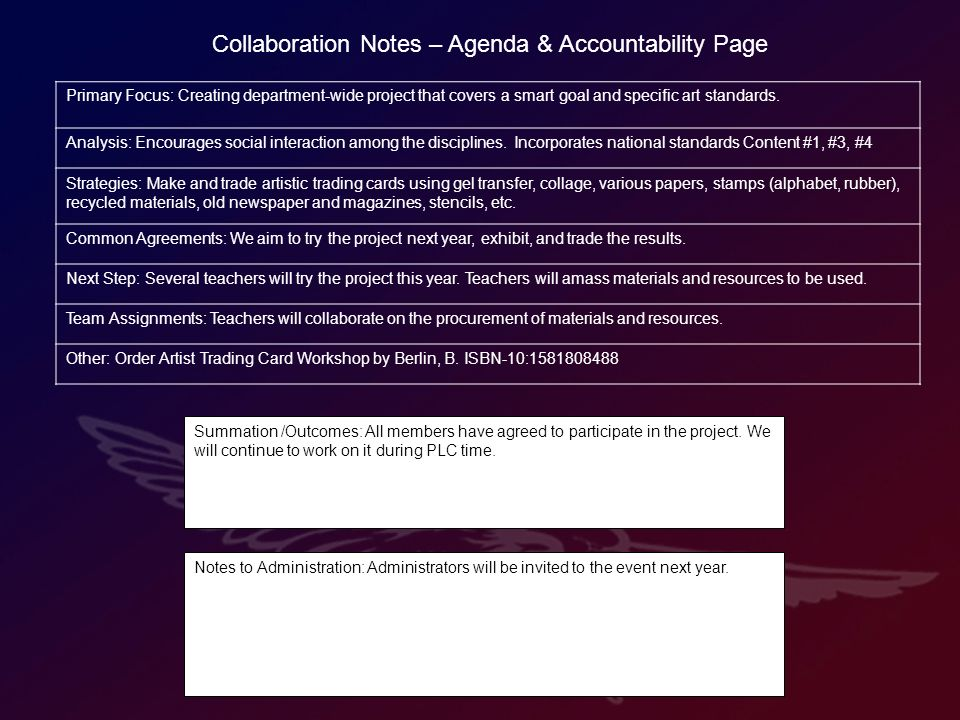 Collaboration Notes – Agenda & Accountability Page Primary Focus: Creating department-wide project that covers a smart goal and specific art standards.