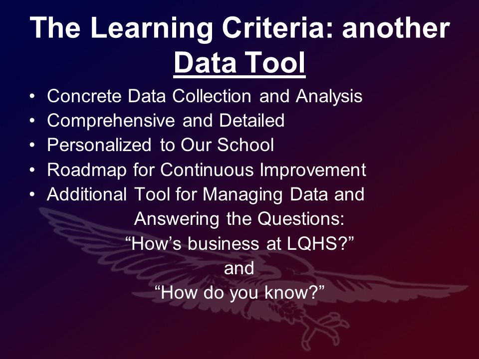 The Learning Criteria: another Data Tool Concrete Data Collection and Analysis Comprehensive and Detailed Personalized to Our School Roadmap for Continuous Improvement Additional Tool for Managing Data and Answering the Questions: Hows business at LQHS.