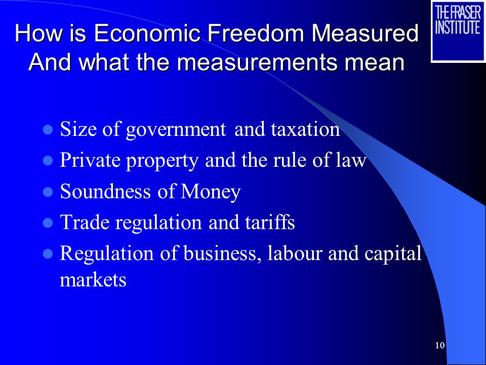10 How is Economic Freedom Measured And what the measurements mean Size of government and taxation Private property and the rule of law Soundness of Money Trade regulation and tariffs Regulation of business, labour and capital markets