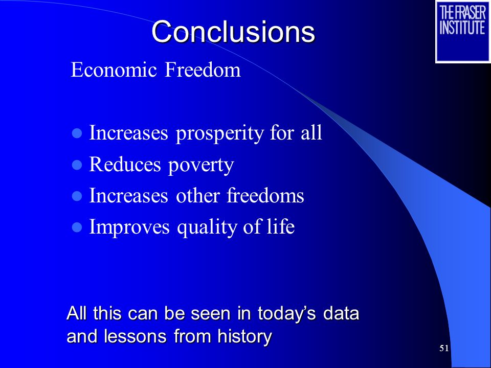 51Conclusions Economic Freedom Increases prosperity for all Reduces poverty Increases other freedoms Improves quality of life All this can be seen in todays data and lessons from history