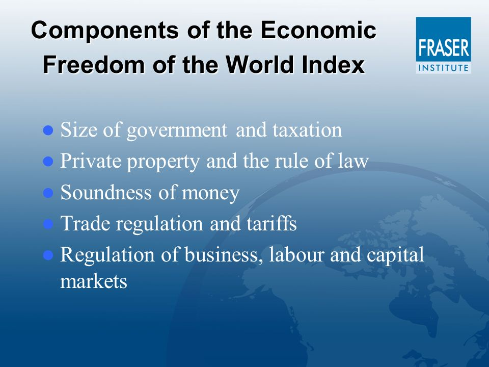 Components of the Economic Freedom of the World Index Size of government and taxation Private property and the rule of law Soundness of money Trade regulation and tariffs Regulation of business, labour and capital markets