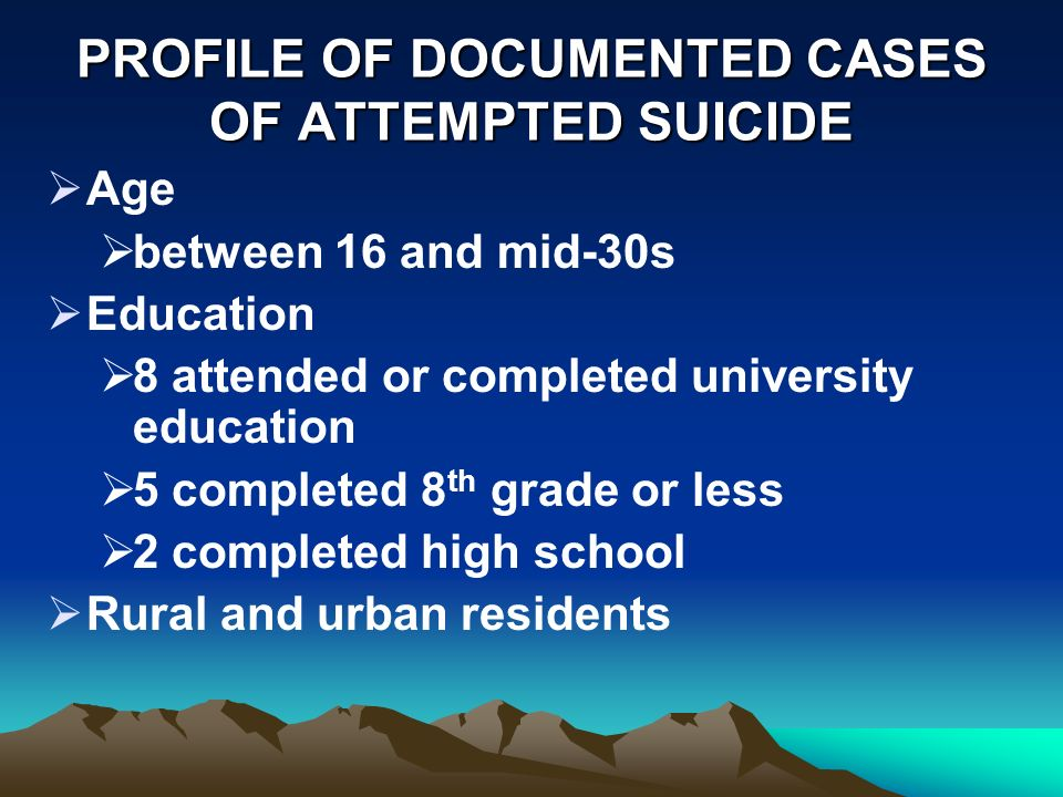 PROFILE OF DOCUMENTED CASES OF ATTEMPTED SUICIDE Age between 16 and mid-30s Education 8 attended or completed university education 5 completed 8 th grade or less 2 completed high school Rural and urban residents