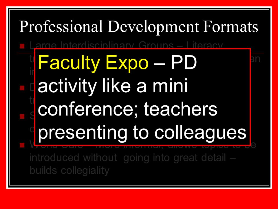 Professional Development Formats Large Interdisciplinary Groups – Literacy training that is often our first step to introduce an instructional method to all faculty Departmental Meetings – follow up to literacy training with a content specific focus Small Interdisciplinary Groups – In depth discussions about a targeted issue World Café – More informal, allows topics to be introduced without going into great detail – builds collegiality Faculty Expo – PD activity like a mini conference; teachers presenting to colleagues