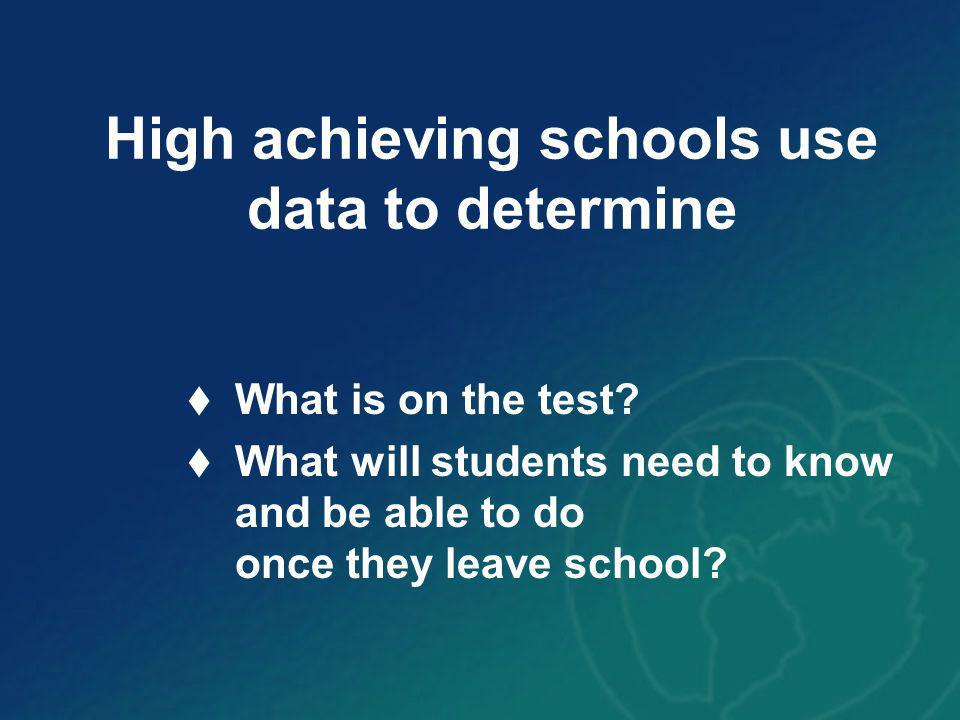 High achieving schools use data to determine What is on the test.