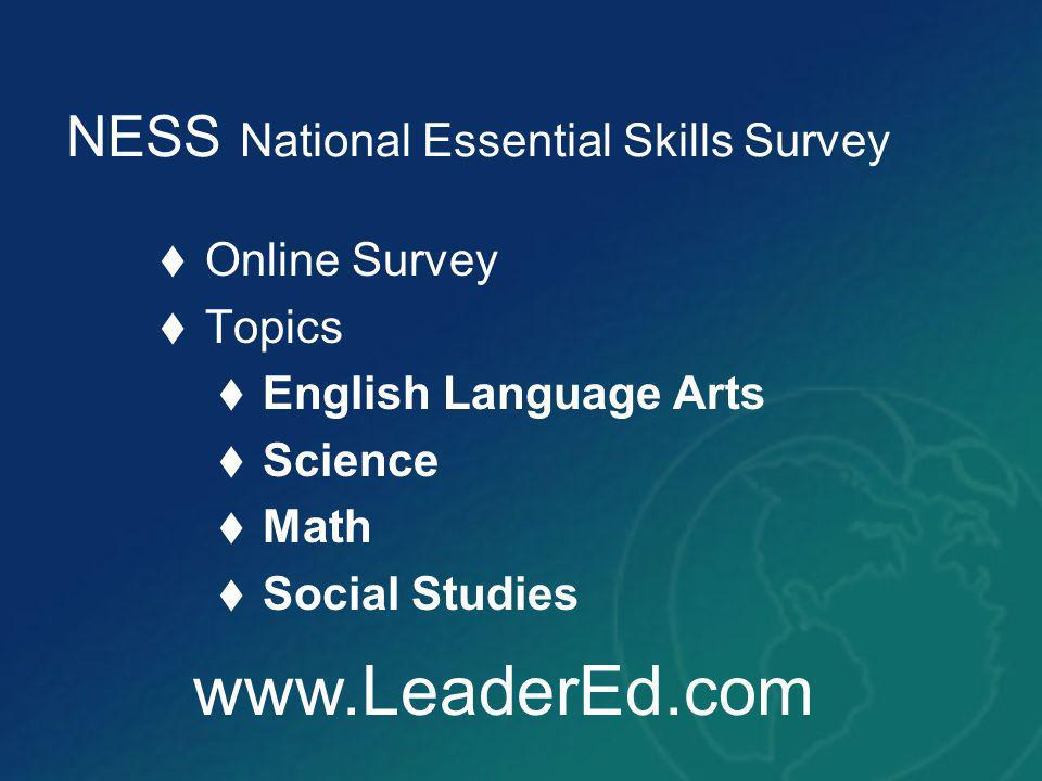 NESS National Essential Skills Survey Online Survey Topics English Language Arts Science Math Social Studies