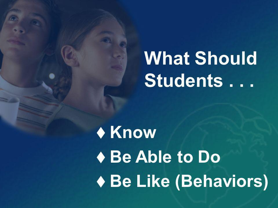 Know Be Able to Do Be Like (Behaviors) What Should Students...
