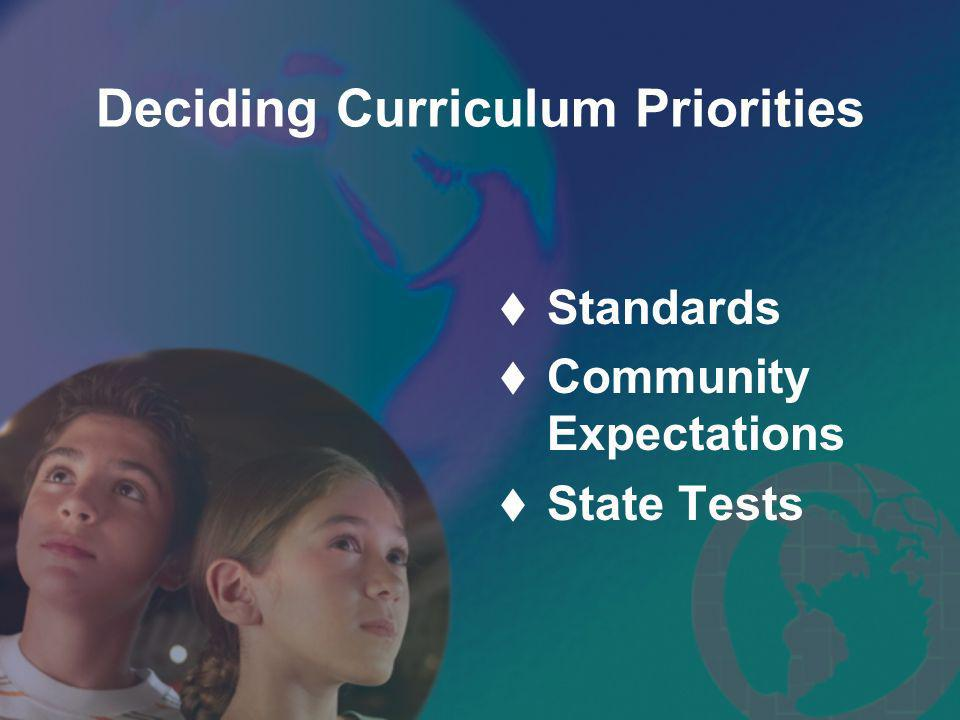 Deciding Curriculum Priorities Standards Community Expectations State Tests