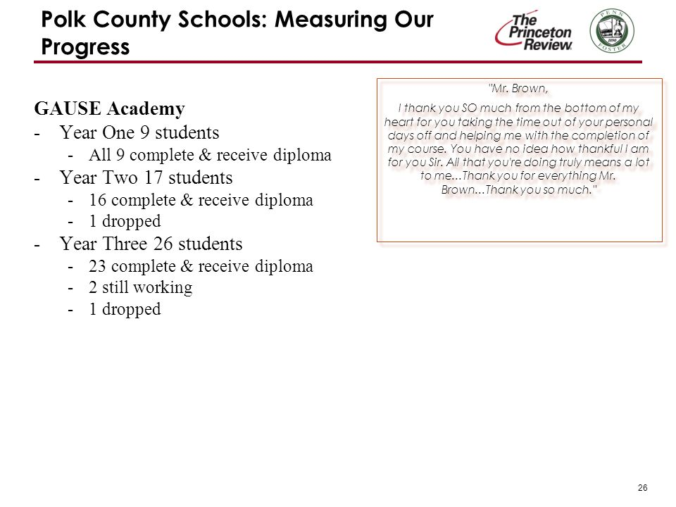 26 Polk County Schools: Measuring Our Progress GAUSE Academy -Year One 9 students -All 9 complete & receive diploma -Year Two 17 students -16 complete & receive diploma -1 dropped -Year Three 26 students -23 complete & receive diploma -2 still working -1 dropped Mr.