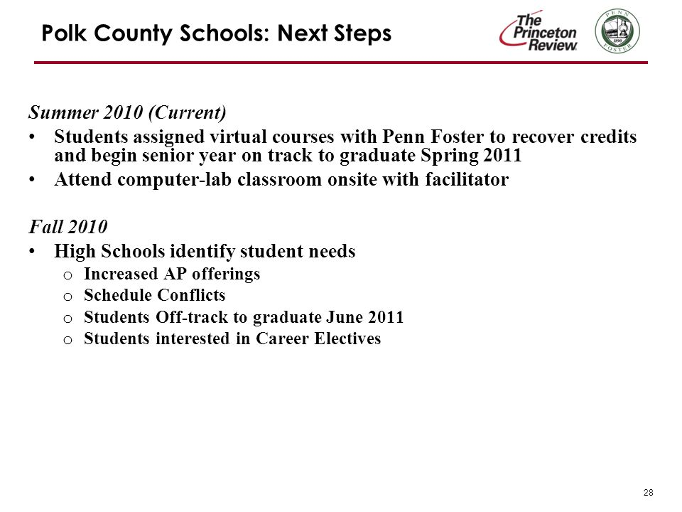 28 Polk County Schools: Next Steps Summer 2010 (Current) Students assigned virtual courses with Penn Foster to recover credits and begin senior year on track to graduate Spring 2011 Attend computer-lab classroom onsite with facilitator Fall 2010 High Schools identify student needs o Increased AP offerings o Schedule Conflicts o Students Off-track to graduate June 2011 o Students interested in Career Electives