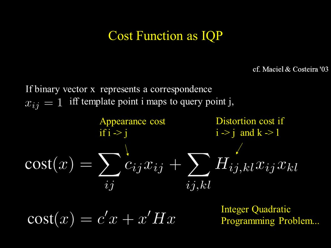 Cost Function as IQP Appearance cost if i -> j Distortion cost if i -> j and k -> l Integer Quadratic Programming Problem...