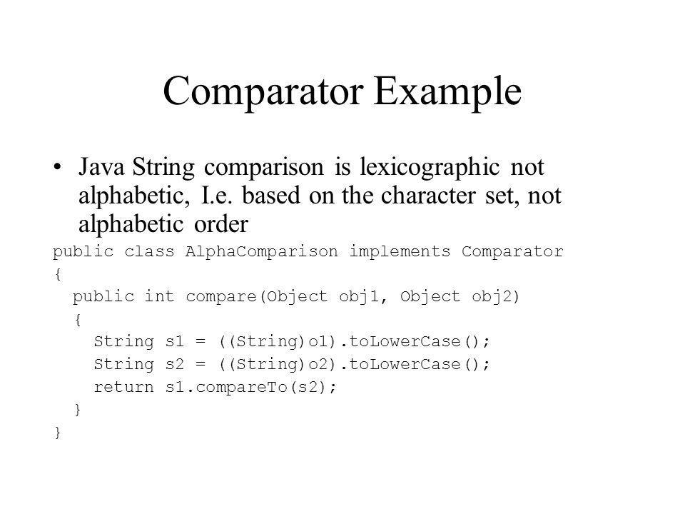 Comparator Example Java String comparison is lexicographic not alphabetic, I.e.
