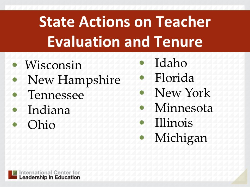 State Actions on Teacher Evaluation and Tenure Wisconsin New Hampshire Tennessee Indiana Ohio Idaho Florida New York Minnesota Illinois Michigan