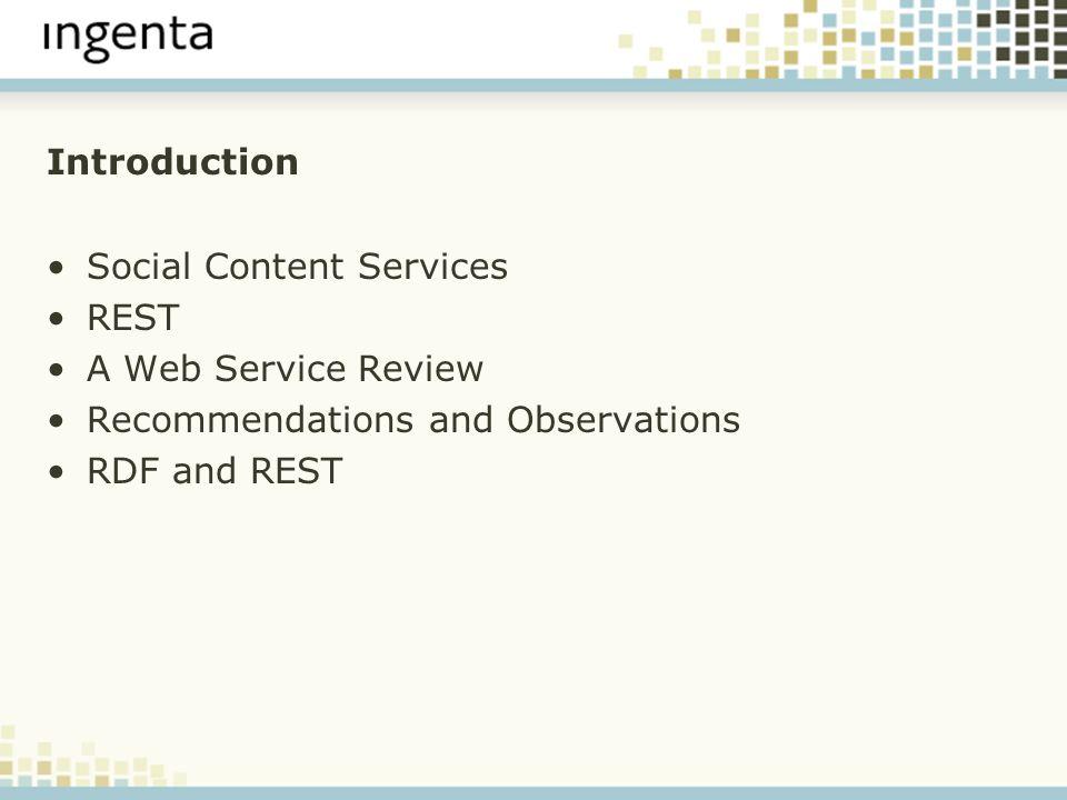 Introduction Social Content Services REST A Web Service Review Recommendations and Observations RDF and REST