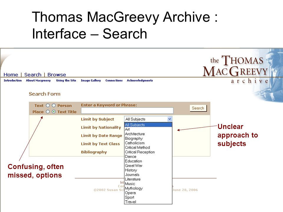 Confusing, often missed, options Unclear approach to subjects Thomas MacGreevy Archive : Interface – Search