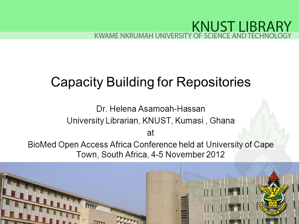 Capacity Building for Repositories Dr.