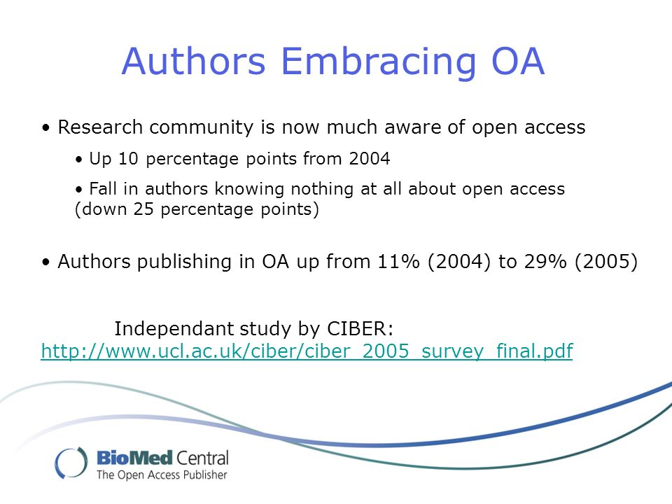 Authors Embracing OA Research community is now much aware of open access Up 10 percentage points from 2004 Fall in authors knowing nothing at all about open access (down 25 percentage points) Authors publishing in OA up from 11% (2004) to 29% (2005) Independant study by CIBER: