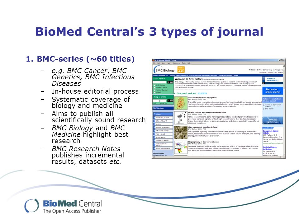 BioMed Centrals 3 types of journal 1.BMC-series (~60 titles) –e.g.