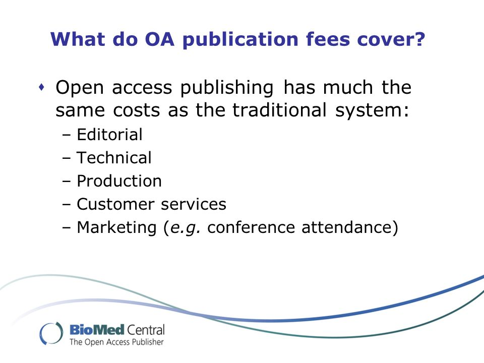 What do OA publication fees cover.