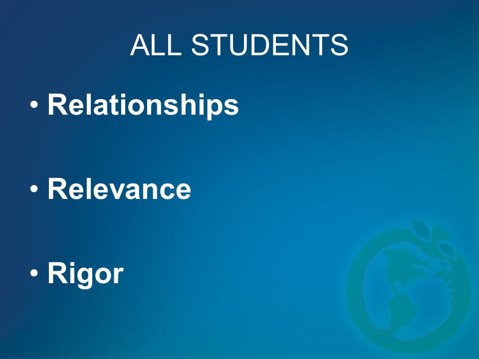 ALL STUDENTS Relationships Relevance Rigor