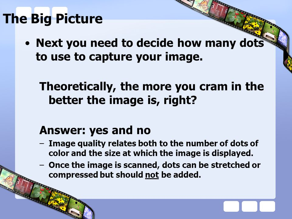 The Big Picture Next you need to decide how many dots to use to capture your image.