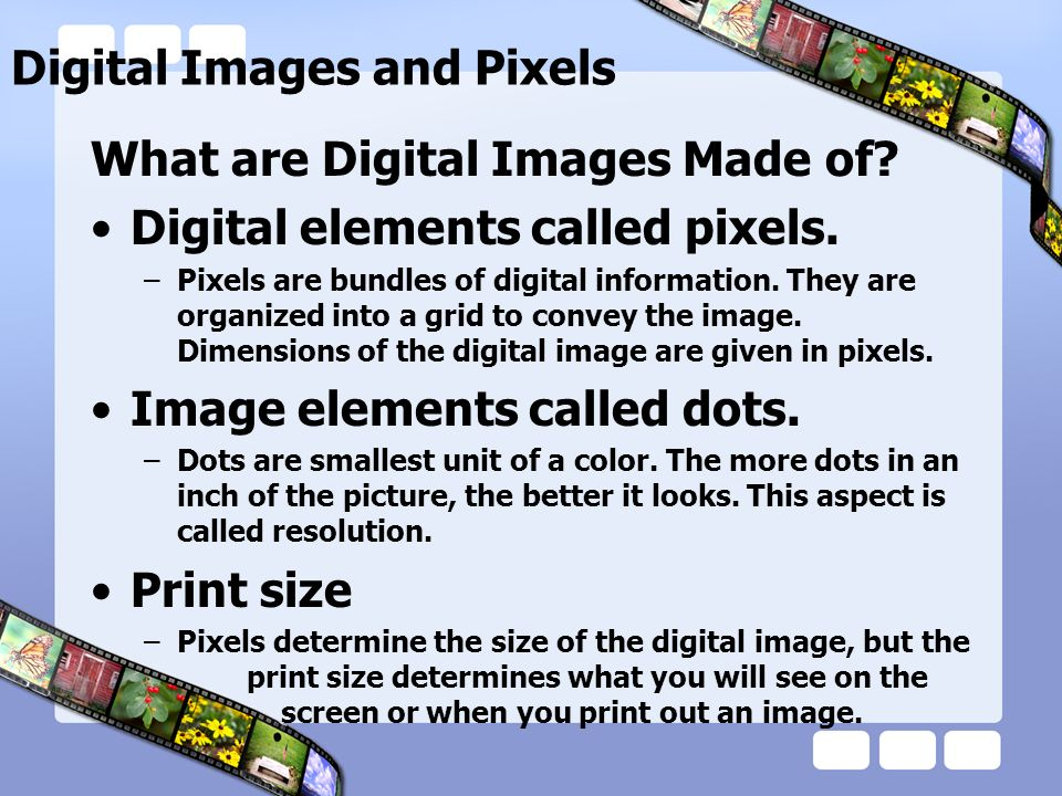 Digital Images and Pixels What are Digital Images Made of.