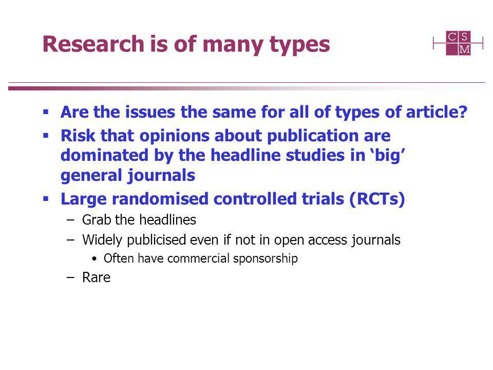 Research is of many types Are the issues the same for all of types of article.