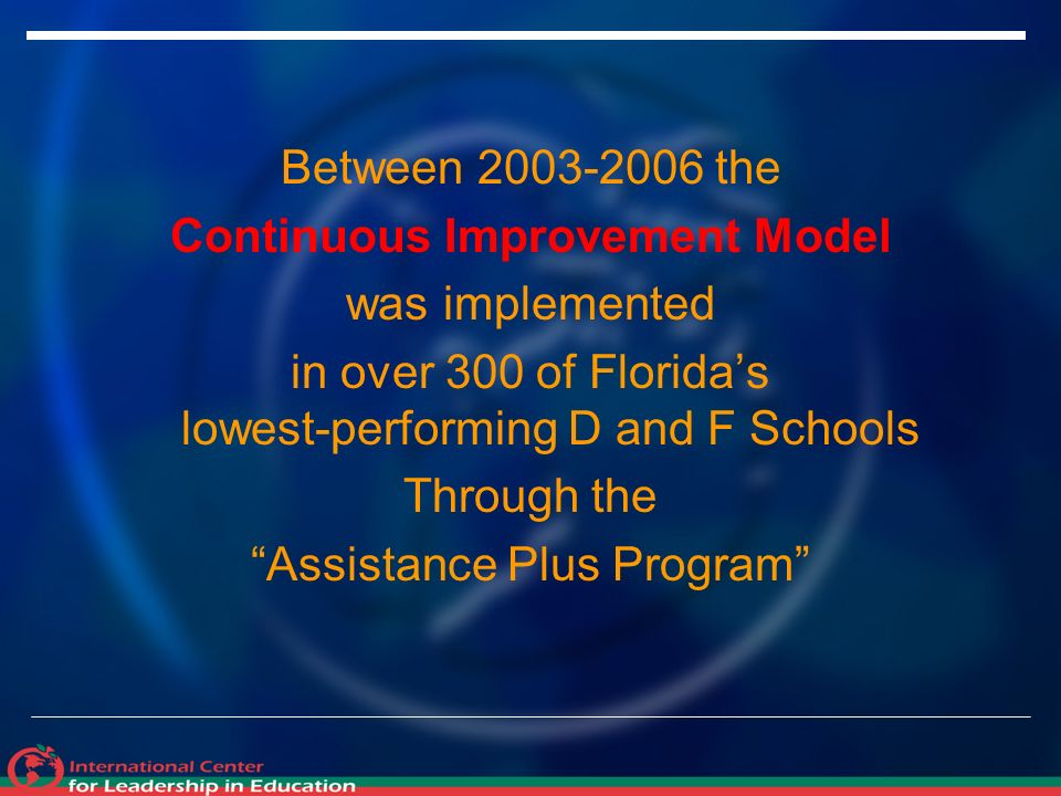 Between the Continuous Improvement Model was implemented in over 300 of Floridas lowest-performing D and F Schools Through the Assistance Plus Program