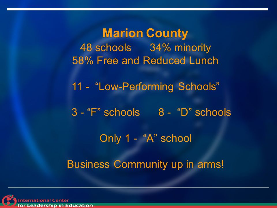 Marion County 48 schools 34% minority 58% Free and Reduced Lunch 11 - Low-Performing Schools 3 - F schools 8 - D schools Only 1 - A school Business Community up in arms!