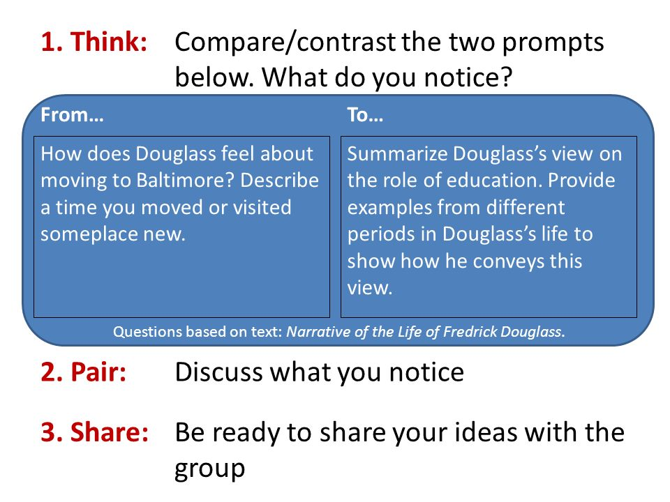 1. Think: Compare/contrast the two prompts below.