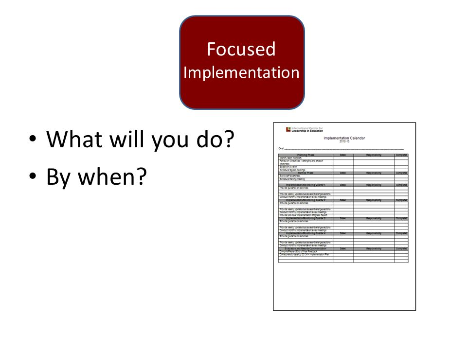Focused Implementation What will you do By when