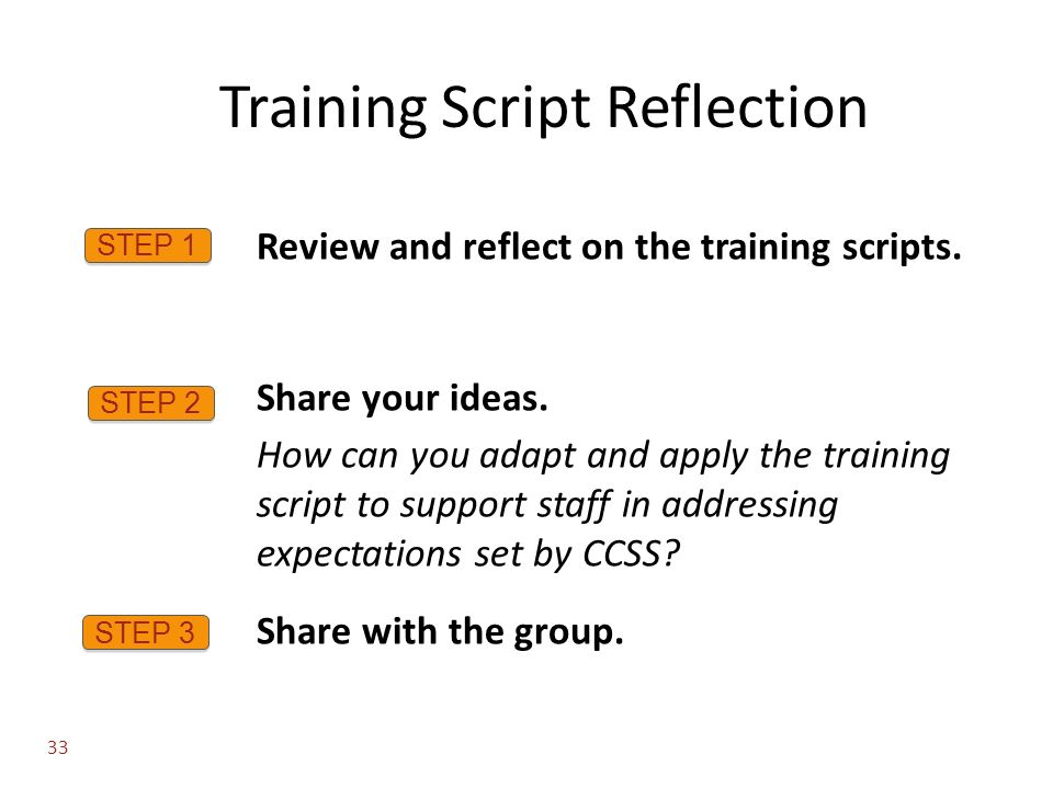 Training Script Reflection STEP 1 Review and reflect on the training scripts.
