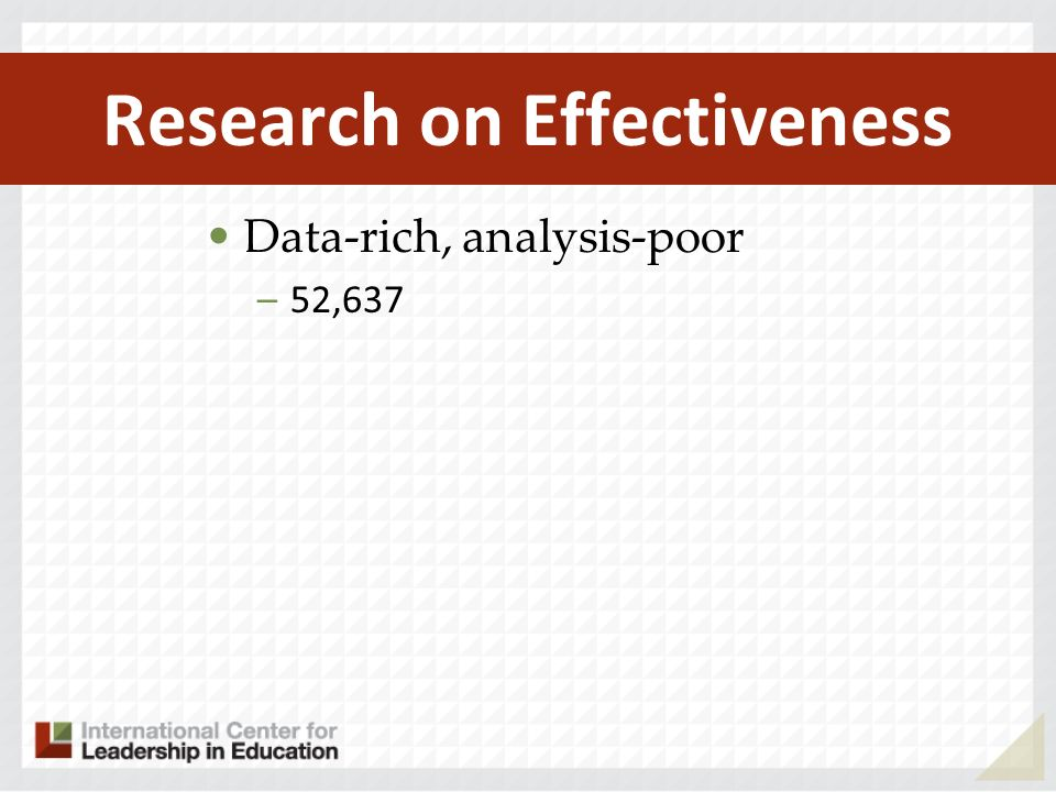 Research on Effectiveness Data-rich, analysis-poor –52,637