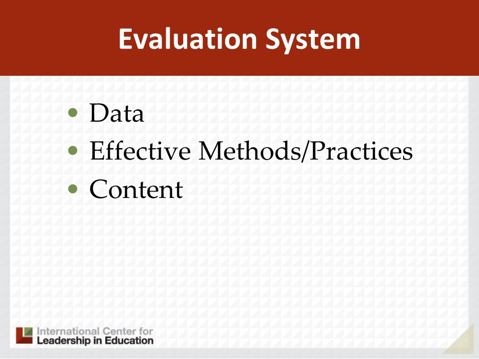 Evaluation System Data Effective Methods/Practices Content