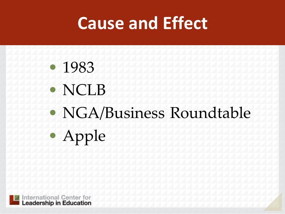Cause and Effect 1983 NCLB NGA/Business Roundtable Apple