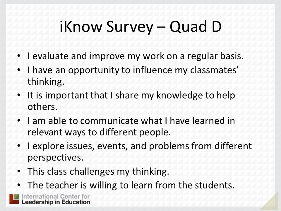 iKnow Survey – Quad D I evaluate and improve my work on a regular basis.