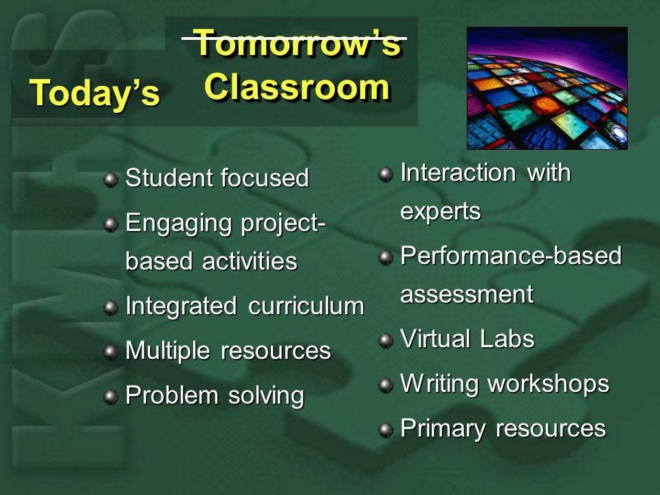 Tomorrows Classroom Student focused Engaging project- based activities Integrated curriculum Multiple resources Problem solving Interaction with experts Performance-based assessment Virtual Labs Writing workshops Primary resources Todays