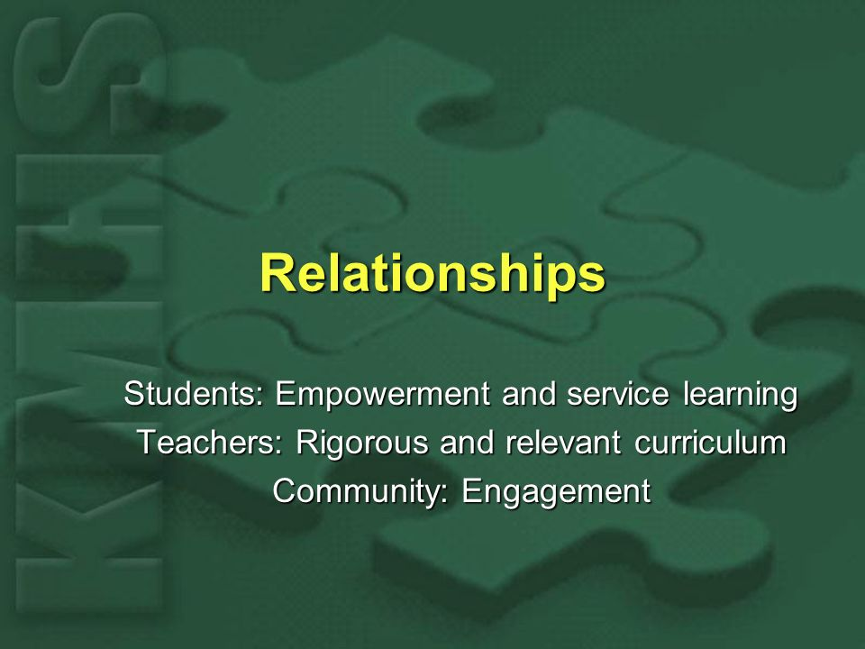 Relationships Students: Empowerment and service learning Teachers: Rigorous and relevant curriculum Community: Engagement