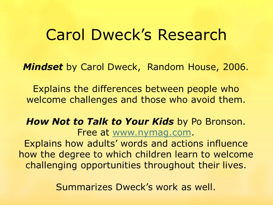 Carol Dwecks Research Mindset by Carol Dweck, Random House, 2006.