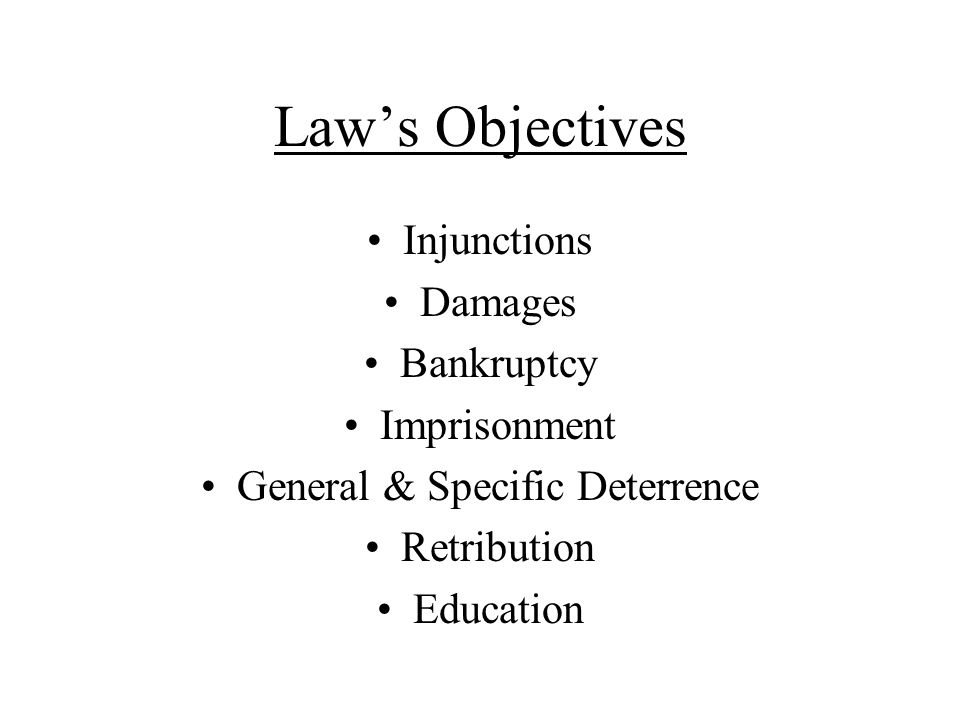 Laws Objectives Injunctions Damages Bankruptcy Imprisonment General & Specific Deterrence Retribution Education