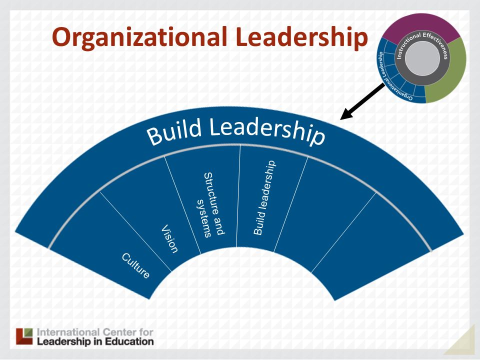 Culture Vision Structure and systems Organizational Leadership Build leadership