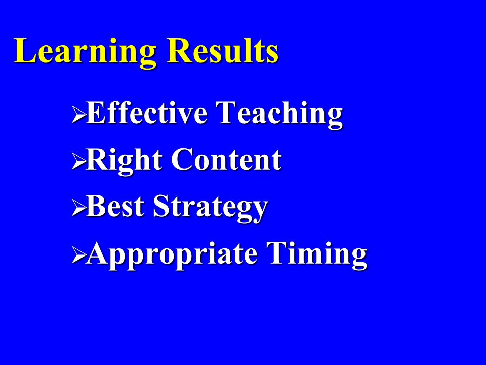 Learning Results Effective Teaching Effective Teaching Right Content Right Content Best Strategy Best Strategy Appropriate Timing Appropriate Timing