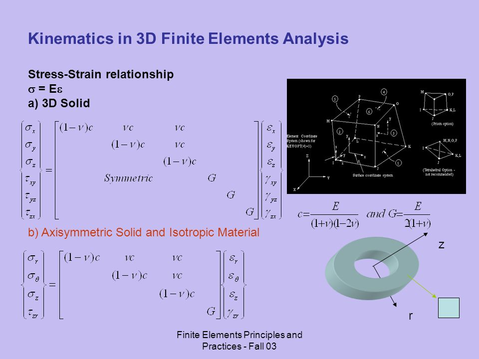 Finite Elements Principles and Practices - Fall 03 Kinematics in 3D Finite Elements Analysis Stress-Strain relationship = E a) 3D Solid b) Axisymmetric Solid and Isotropic Material r z