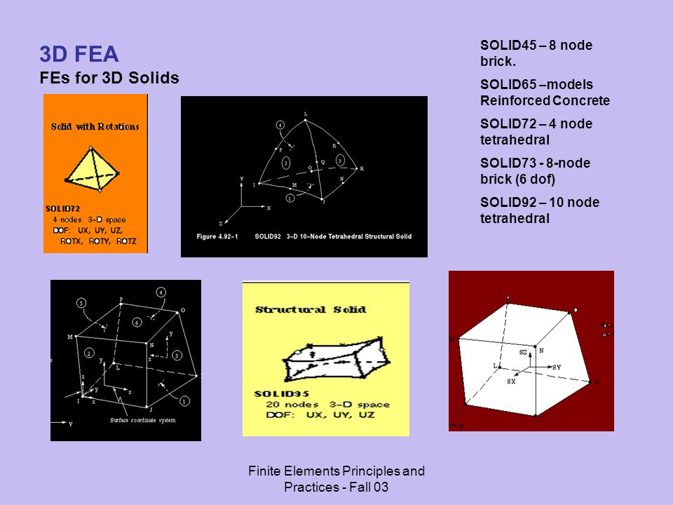 Finite Elements Principles and Practices - Fall 03 3D FEA FEs for 3D Solids SOLID45 – 8 node brick.