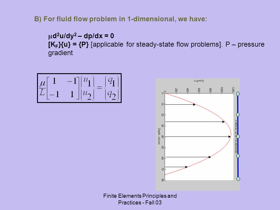 Finite Elements Principles and Practices - Fall 03 B) For fluid flow problem in 1-dimensional, we have: d 2 u/dy 2 – dp/dx = 0 [K F }{u} = {P} [applicable for steady-state flow problems].