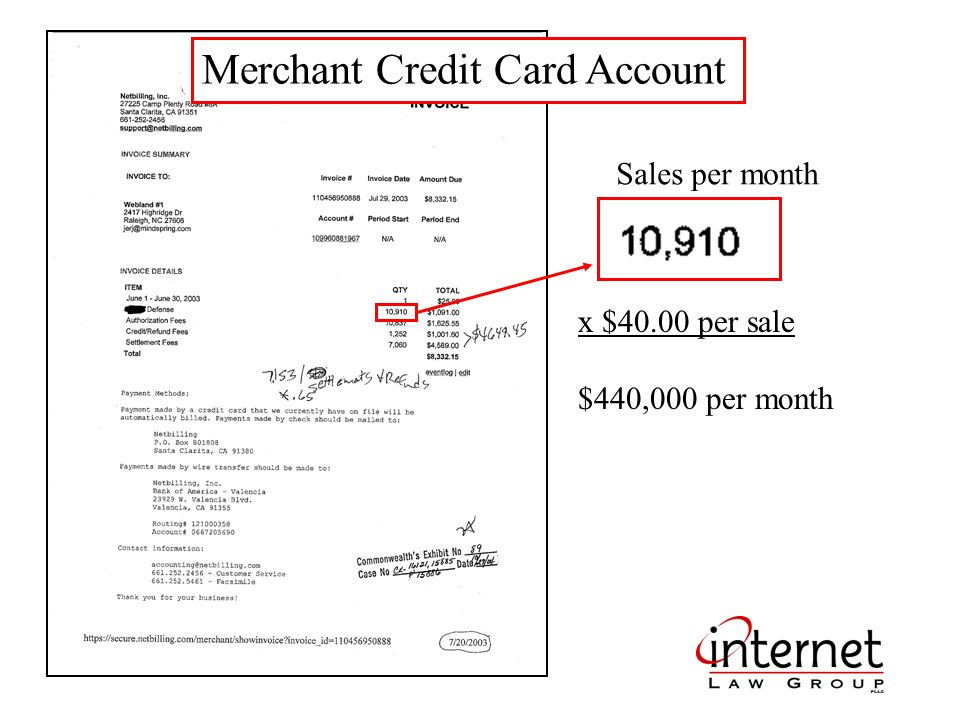 Merchant Credit Card Account x $40.00 per sale $440,000 per month Sales per month